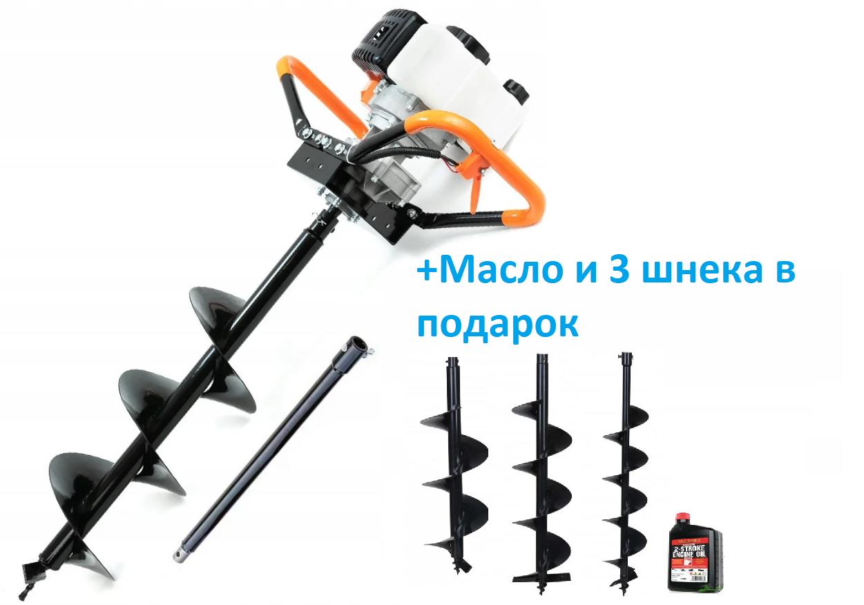 Мотобур 5200Вт Black (3 шнека і масло комплекті 150-200-250мм)