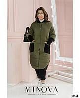 Демисезонная женская куртка длинная батал,  размер от 52 до 62