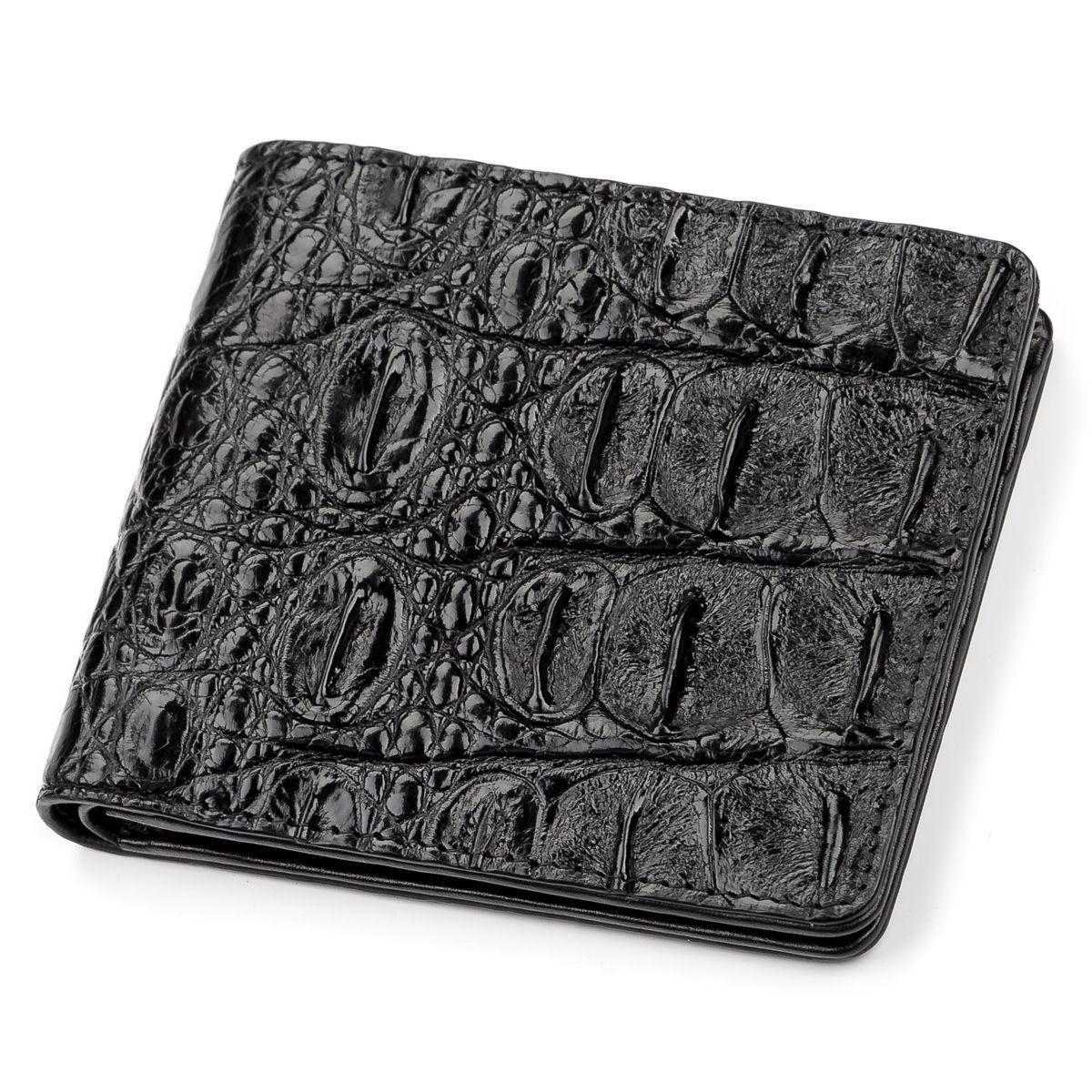 Портмоне CROCODILE LEATHER 18045 из натуральной кожи крокодила Черное