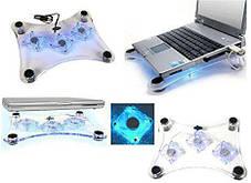 Охлаждающая подставка для ноутбука с 3 вентиляторами laptop cooler 639, фото 3