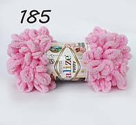 Пряжа Alize Puffy 185 розовый (Пуффи Ализе) для вязания без спиц руками с петельками петлями