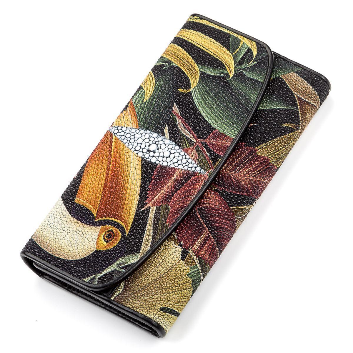 Кошелек женский STINGRAY LEATHER 18108 из натуральной кожи морского ската Разноцветный