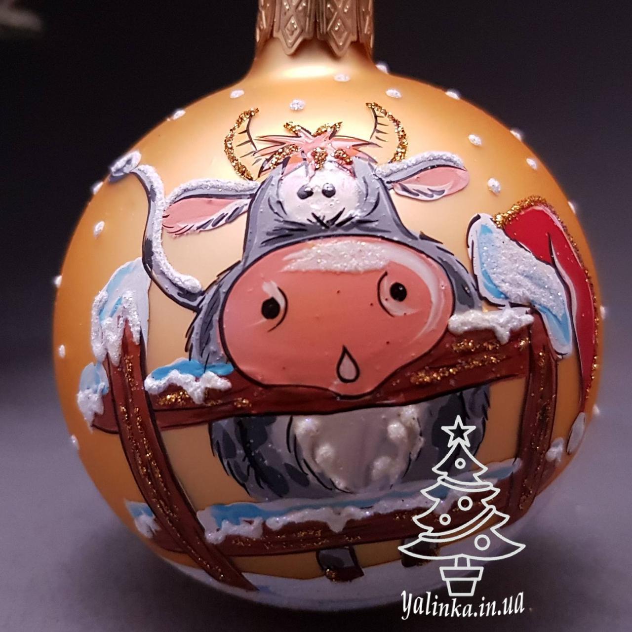 Стеклянный шар на елку Символ года 70450 диаметр 70 мм