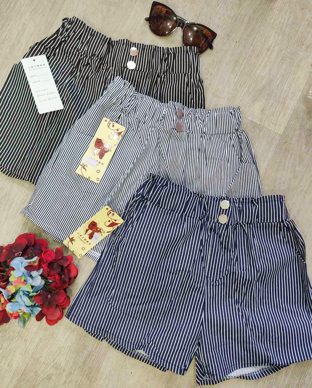 Коттоновые женские шорты в полоску 42-44 (в расцветках)
