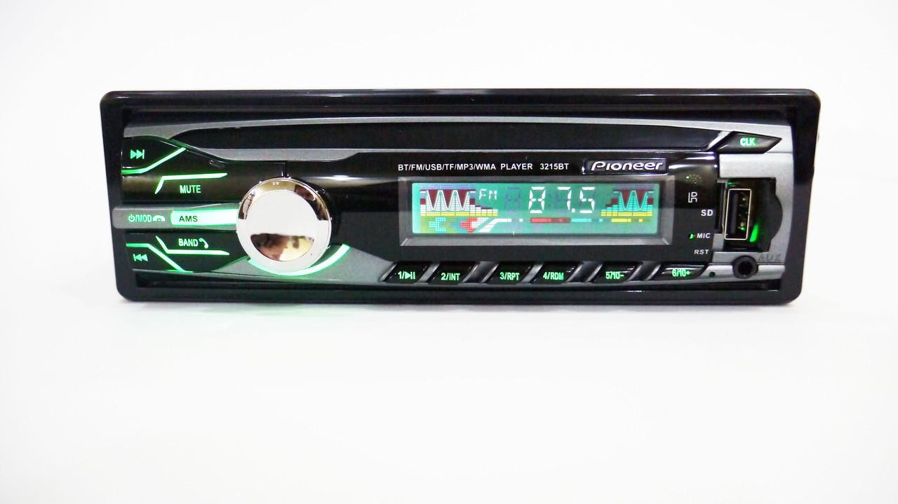 Автомагнитола Pioneer 3215BT Bluetooth Usb+RGB подсветка+Fm+Aux+ пульт (4x50W)