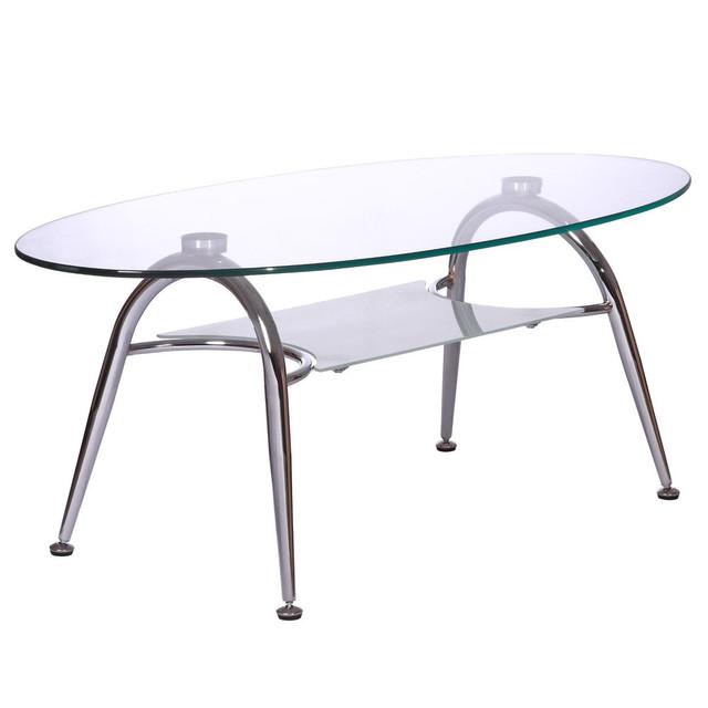Журнальный стол KSD-CT-005 каркас хром, прозрачное закаленное стекло. Материал столешницы: Закаленное стекло. Материал каркаса: Хром, металл. Особенности: Полочка, прогрессивный дизайн стола.