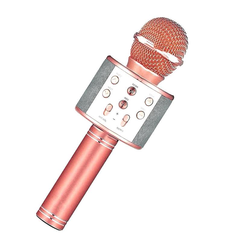 Беспроводной микрофон караоке WS-858 Розовое Золото
