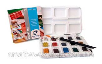 Набір акварельних фарб, VAN GOGH, Pocket box, 12 кювет+3 БЕЗКОШТОВНО, Royal Talens