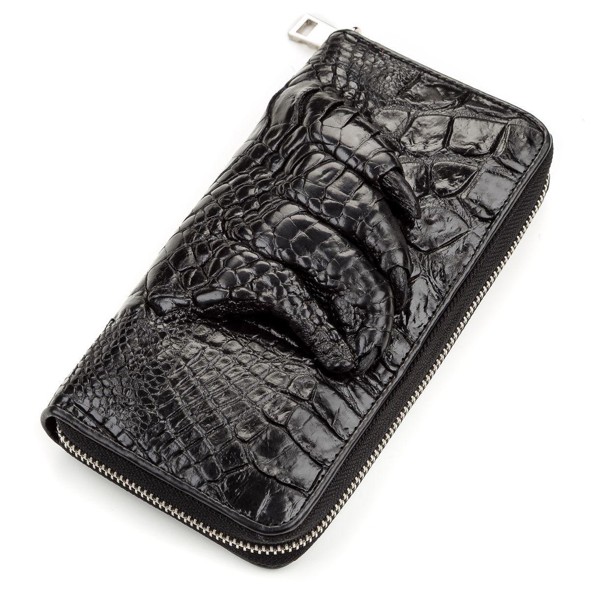 Клатч CROCODILE LEATHER 18172 из натуральной кожи крокодила Черный