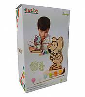"Деревянная игра-раскраска Cubika ""Мишка"", с красками, кисточка, заготовка, 13852"