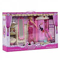 Мебель для кукол Le Jin Toys, шкаф, зеркало, пуфик, аксессуары, 589-2