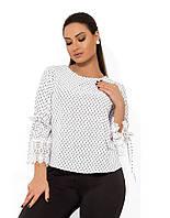 Женская элегантная блуза с круглым вырезом втачными рукавами-колокол и рюшем на манжетах размер XL+