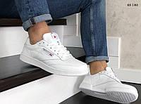 Мужские кожаные кроссовки Reebok (белые) KS 1383