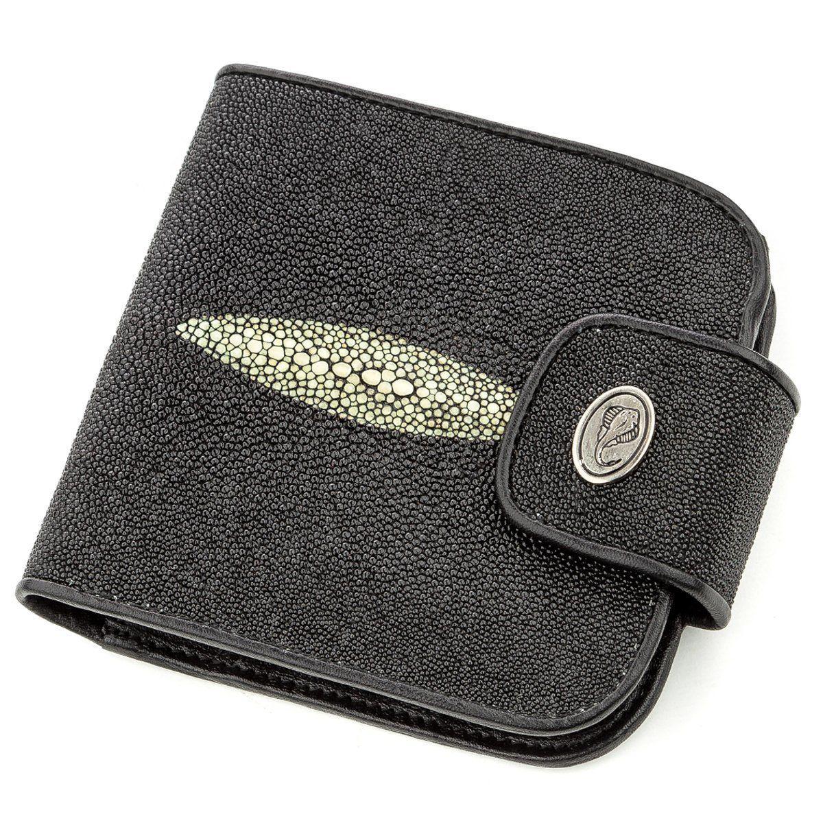 Горизонтальний гаманець STINGRAY LEATHER 18561 з натуральної шкіри морського скату Чорний, Чорний