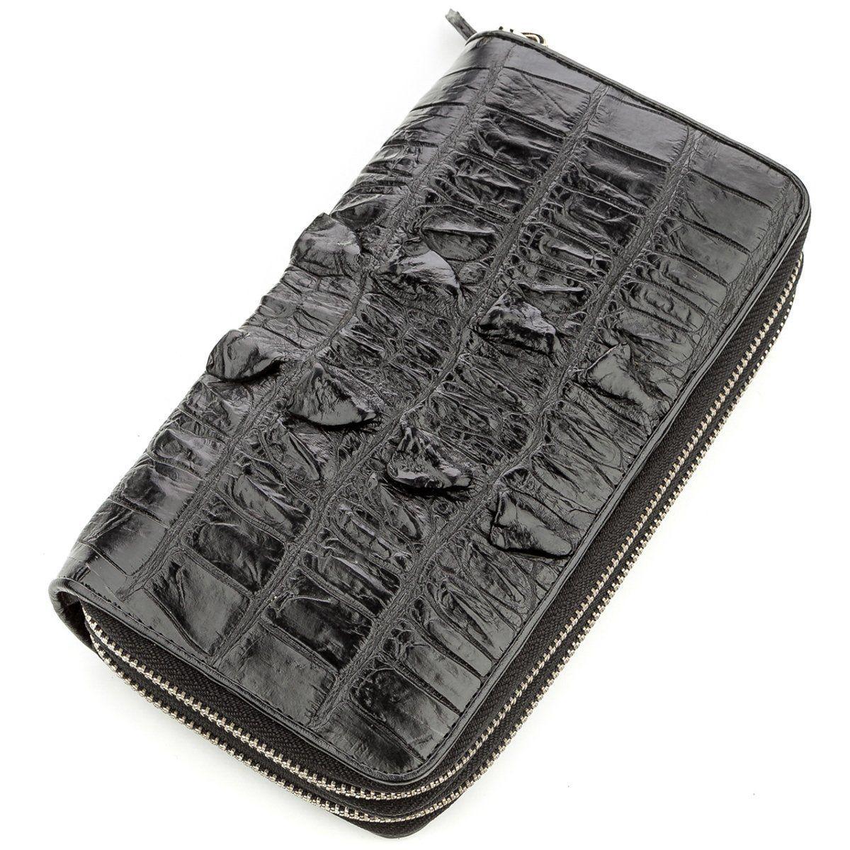 Клатч чоловічий CROCODILE LEATHER 18570 з натуральної шкіри крокодила Чорний, Чорний
