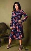 Очаровательное женское платье длиной миди в стильный принт