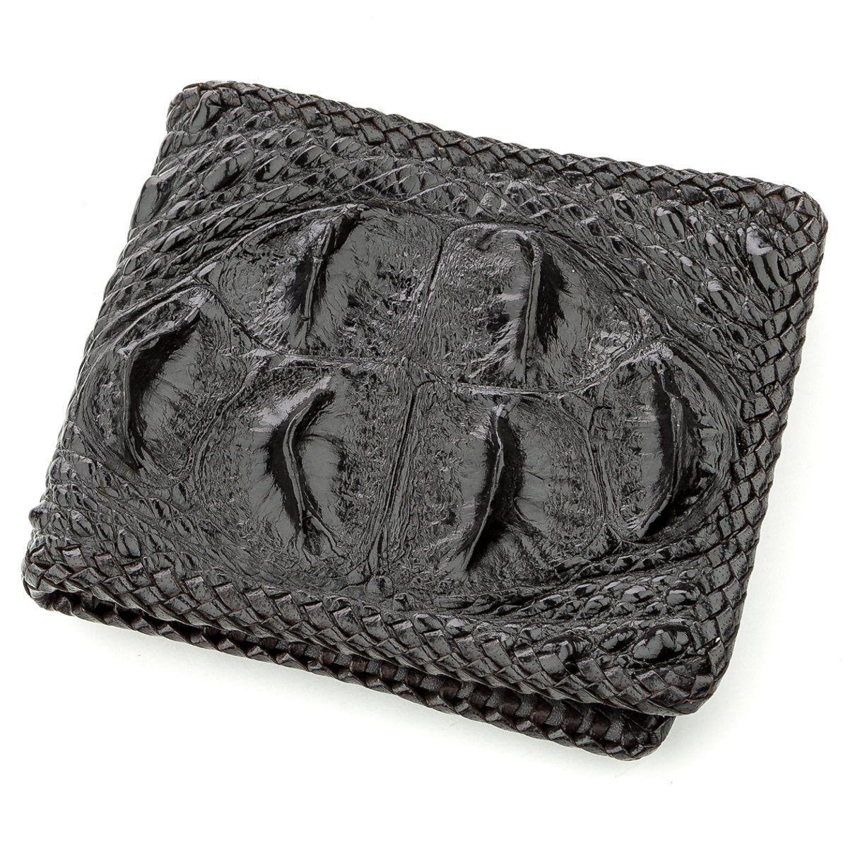 Гаманець чоловічий CROCODILE LEATHER 18580 з натуральної шкіри крокодила Чорний, Чорний