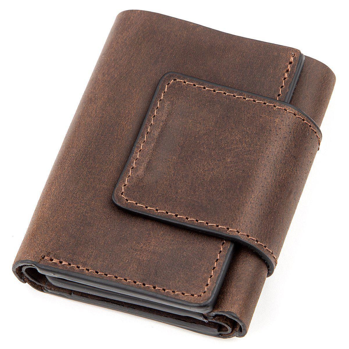 Строгое портмоне унисекс в винтажном стиле GRANDE PELLE 11151 Коричневое