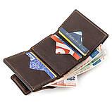 Строгое портмоне унисекс в винтажном стиле GRANDE PELLE 11151 Коричневое, фото 4