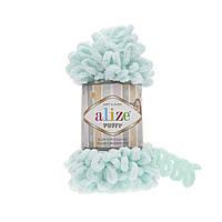 Пряжа Alize Puffy 15 светлая мята (Пуффи Ализе) для вязания без спиц руками с петельками петлями