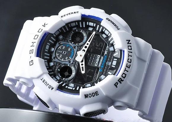 Мужские спортивные наручные часы Casio G-Shock GA-100 White-Blue-Black