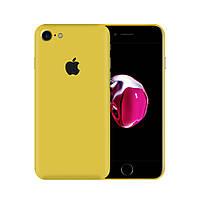 Защитная виниловая наклейка для iPhone 8 жёлтый матовый. Чехол для задней поверхности телефона
