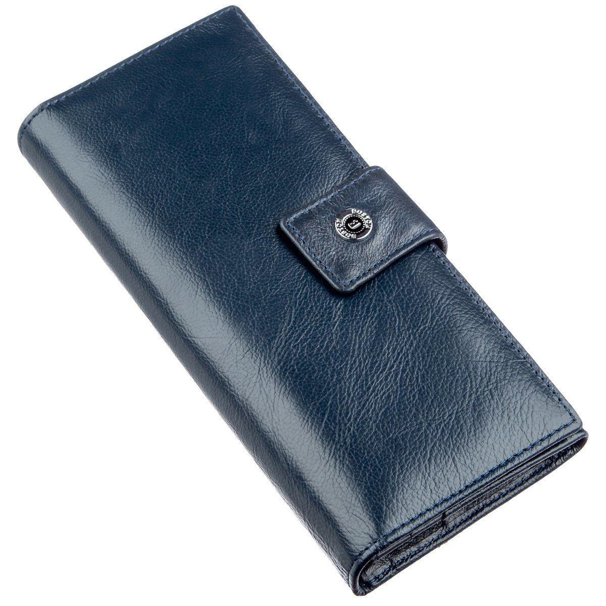 Стильний жіночий гаманець на кнопці Boston 18844 Сіро-блакитний