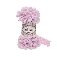 Пряжа Alize Puffy 31 светло-розовый (Пуффи Ализе) для вязания без спиц руками с петельками петлями