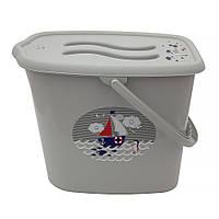 624129 Ведерко для подгузников и воды Maltex Ocean & sea 5535  grey