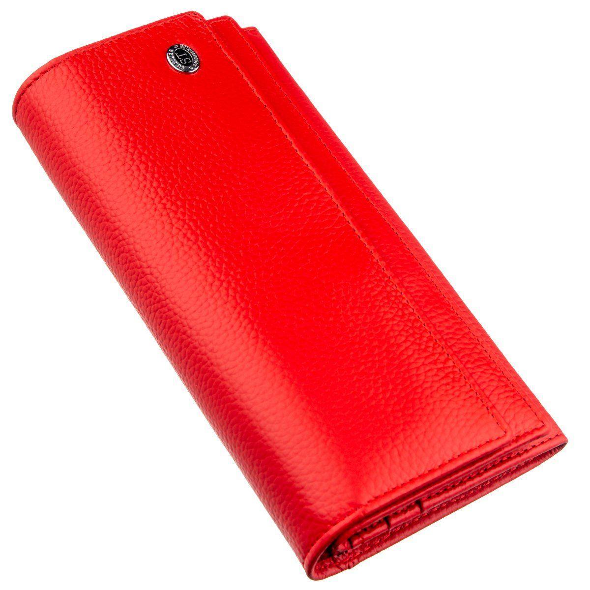 Яркий женский кошелек на кнопке ST Leather 18954 Красный