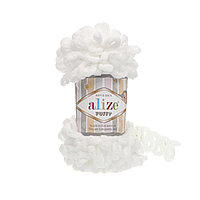 Пряжа Alize Puffy 55 белый (Пуффи Ализе) для вязания без спиц руками с петельками петлями