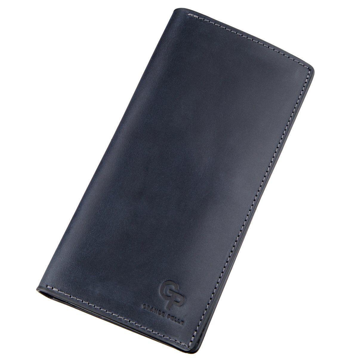 Вертикальний гаманець унісекс на магніті GRANDE PELLE 11211 Синій, Синій
