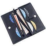 Вертикальний гаманець унісекс на магніті GRANDE PELLE 11211 Синій, Синій, фото 3