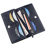 Вертикальний гаманець унісекс на магніті GRANDE PELLE 11211 Синій, Синій, фото 4
