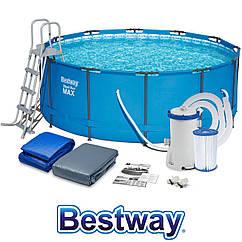 Круглий каркасный бассейн Bestway 56420 (366х122см) +лестница +фильтрир насос +тент +подстилка