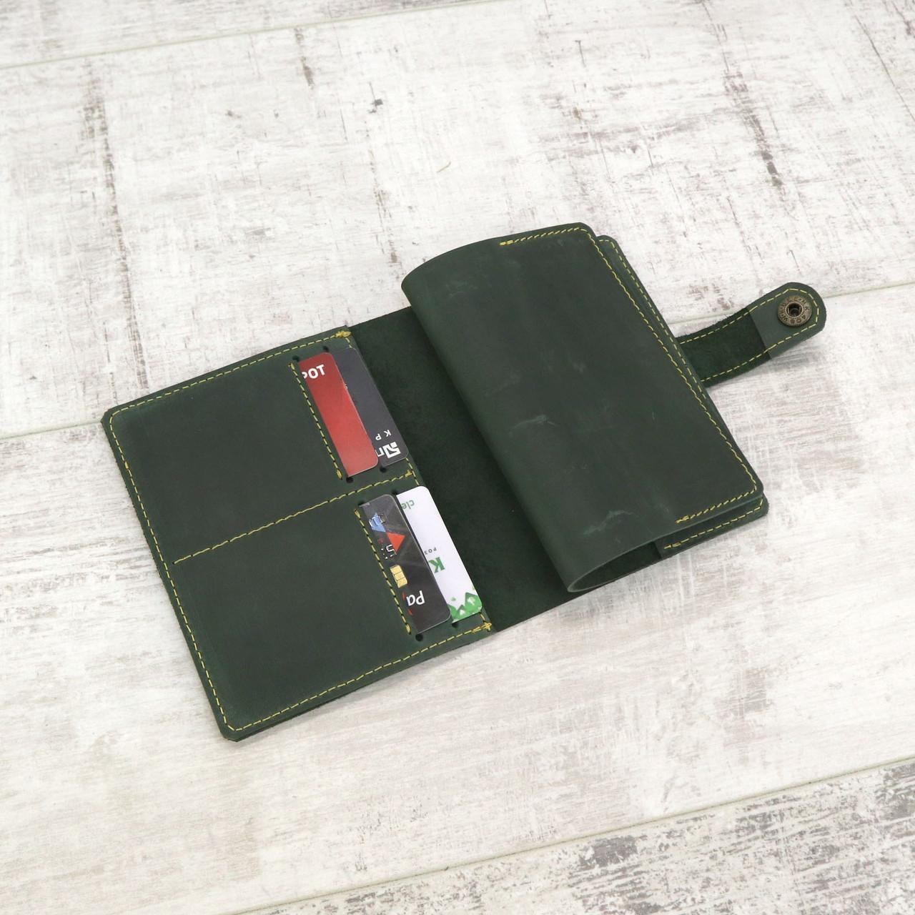 Обложка для паспорта Mihey gs 400 зеленая из натуральной кожи crazy horse 1150201