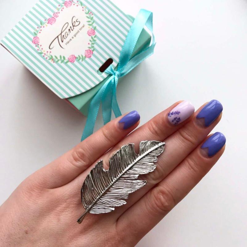 Заколка листик серебро