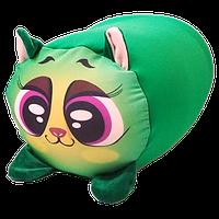 Подушка игрушка валик Котик бифлекс антистресс, полистерольные шарики, размер 35*20 см