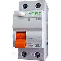 Дифференциальный выключатель нагрузки ВД63 2П 25A 30МA (11450)