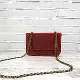 Сумка piton lady красная из натуральной кожи с оттиском, фото 2