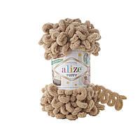 Пряжа Alize Puffy 262 беж (Пуффи Ализе) для вязания без спиц руками с петельками петлями