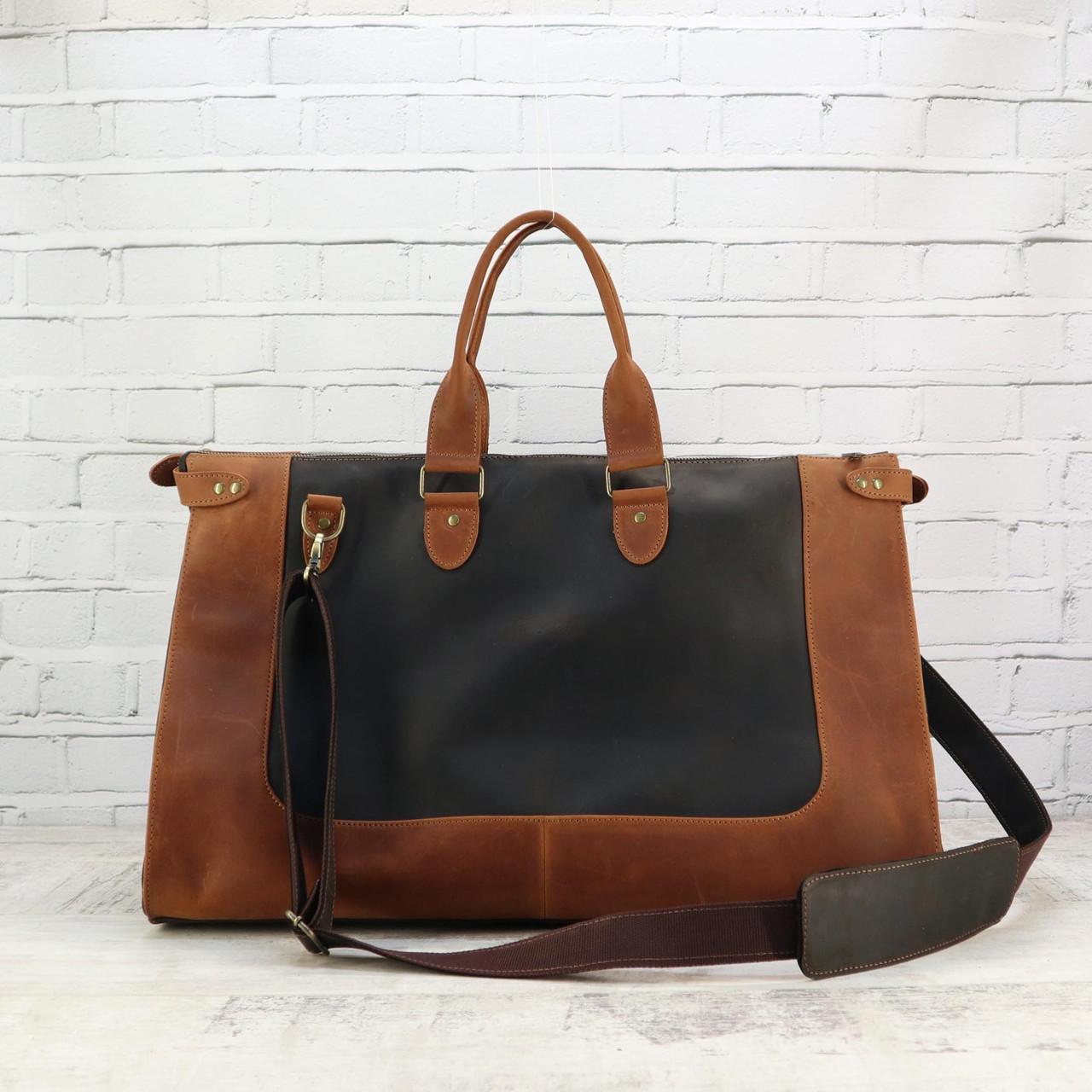 Дорожная сумка tree коньячная коричневая из натуральной кожи crazy horse