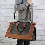 Дорожная сумка tree коньячная коричневая из натуральной кожи crazy horse, фото 8