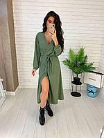 Стильное длинное платье на запах с глубоким декольте 42-46 р