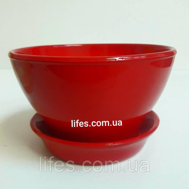 Фиалочница керамическая красная КС16