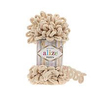 Пряжа Alize Puffy 310 медовый (Пуффи Ализе) для вязания без спиц руками с петельками петлями