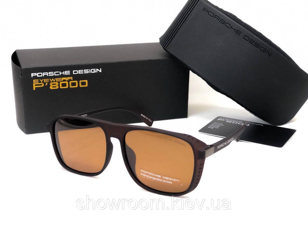 Мужские солнечные очки маска Porsche Design (8055) коричневый