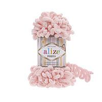 Пряжа Alize Puffy 340 персик (Пуффи Ализе) для вязания без спиц руками с петельками петлями