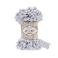 Пряжа Alize Puffy 416 светло-серый (Пуффи Ализе) для вязания без спиц руками с петельками петлями