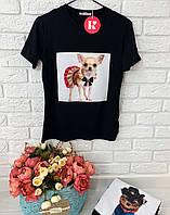 Женская классическая футболка с принтами собак 42-50 р